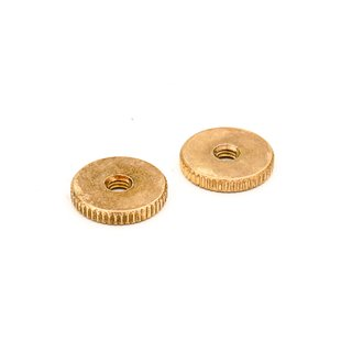TW-MGA (2 pcs.) 	thumbwheels, brass, metric 4mm, gold plated, aged