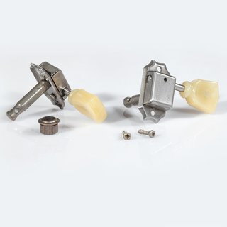 FKT33SBT-NA        	Faber Kluson style tuners, tulip knob, 3+3, separate bushing, nickel aged